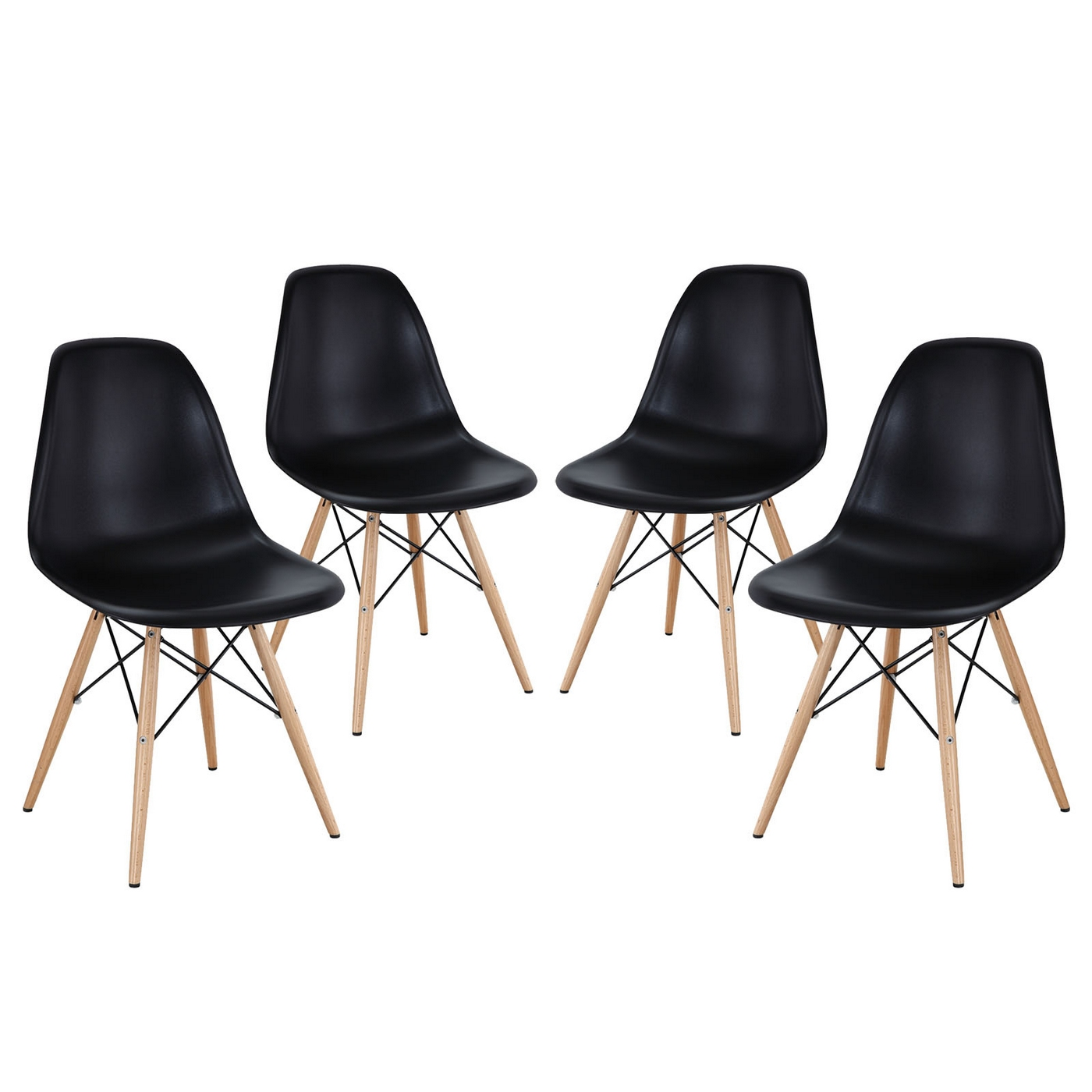 Dining Chairs Black Pyramid Modern Molded Plastic Dining Side Chairs With