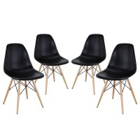 Pyramid Modern Molded Plastic Dining Side Chairs With ...