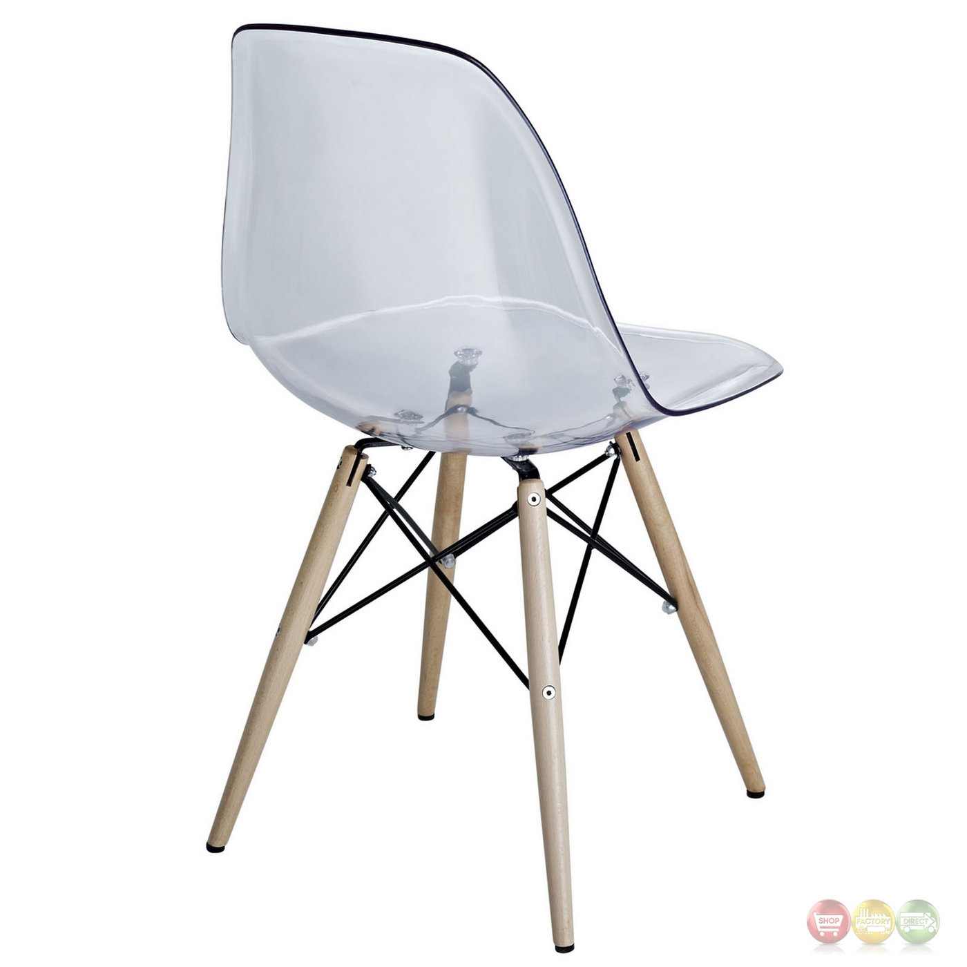 Clear Acrylic Chair Pyramid Modern Molded Plastic Transparent Dining Side