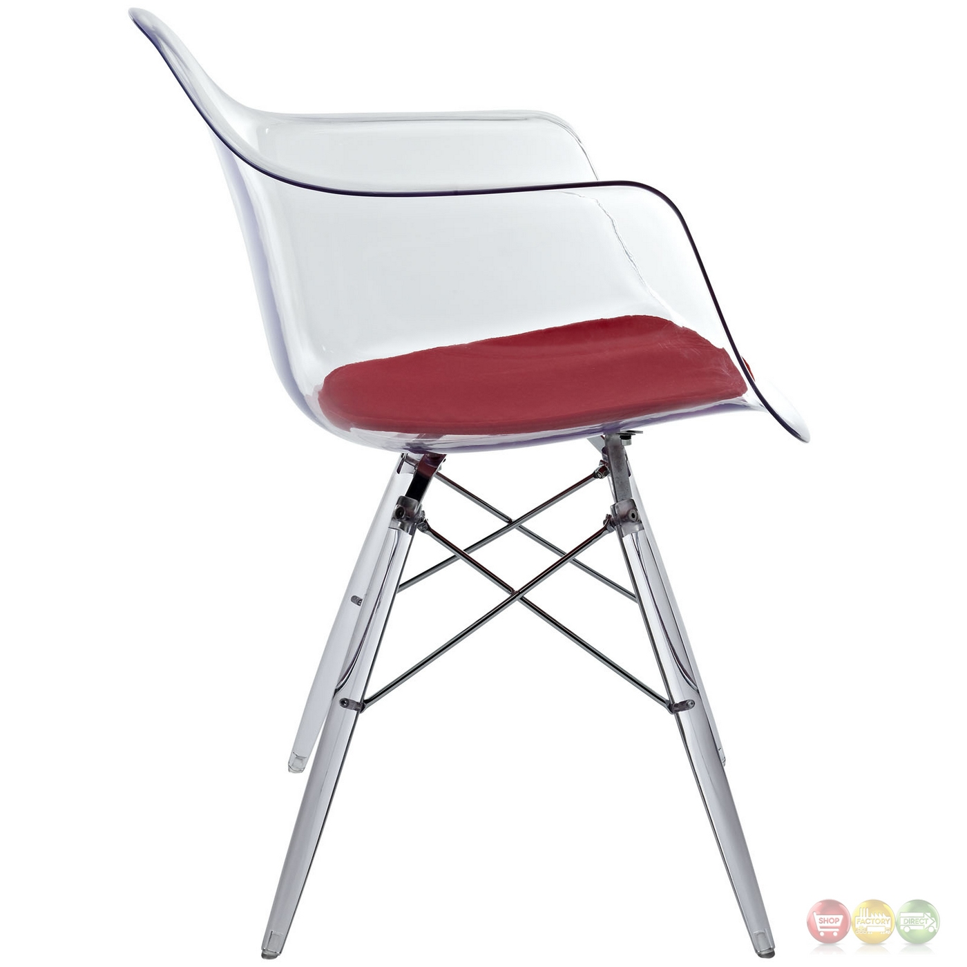 acrylic side chair with cushion barrel chairs ikea pyramid transparent molded plastic dining armchair