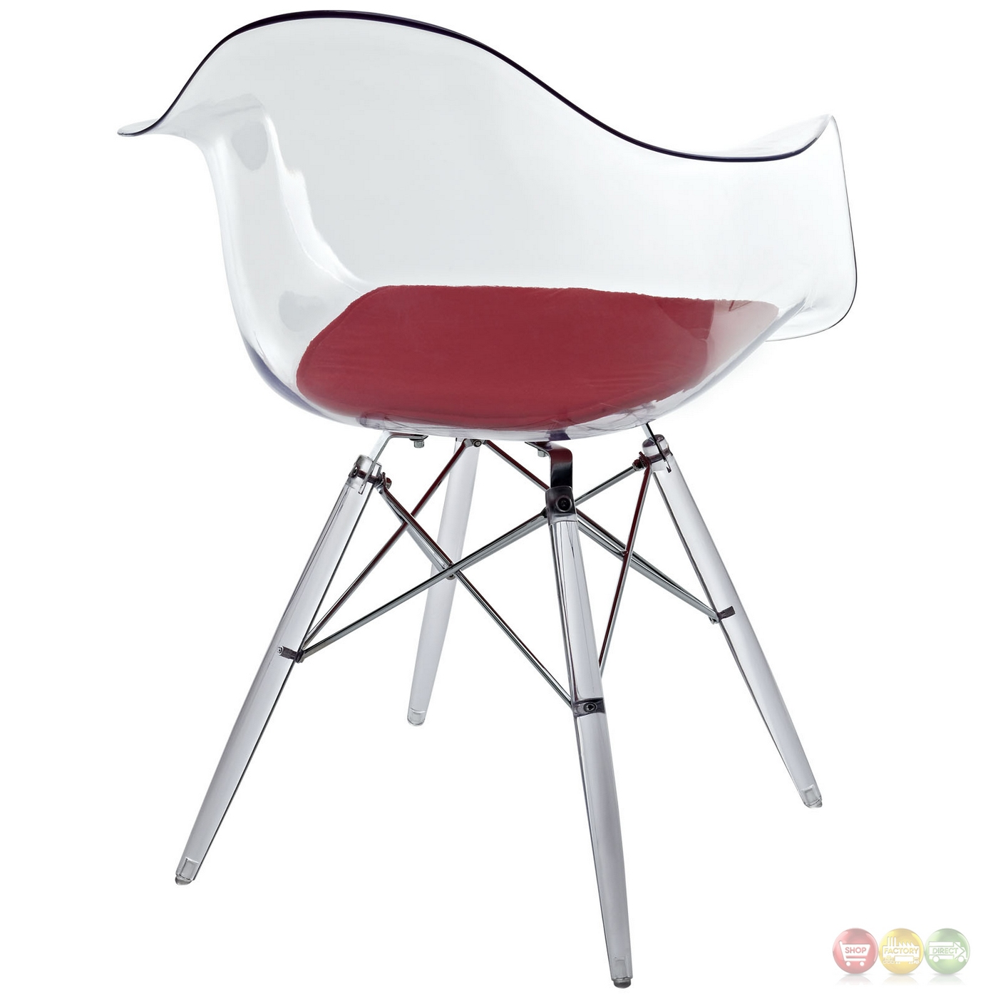 acrylic side chair with cushion broyhill dining room chairs pyramid transparent molded plastic armchair