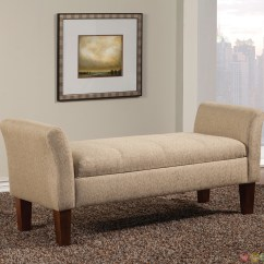 Upholstered Bedroom Chair With Arms Hanging Lowes Light Tan Fabric Storage Bench Flared