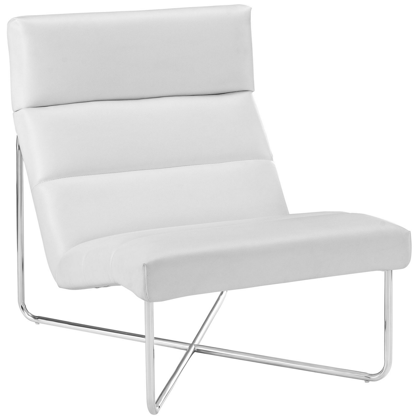 White Lounge Chairs Reach Channel Tufted Vinyl Lounge Chair With Chrome Base