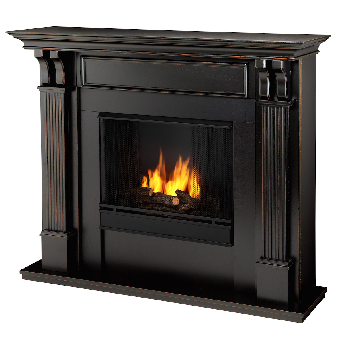 Real Flame Ashley Indoor Ventless Gel Fireplace In Black Wash
