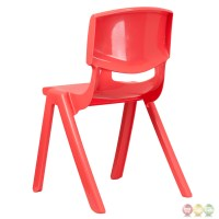 Red Plastic Stackable School Chair with 18 Inch Seat ...