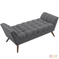Response Contemporary Button-tufted Upholstered Bench, Gray
