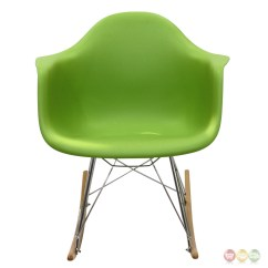 Green Lounge Chair Extra Beans For Bean Bag Chairs Rocker Molded Plastic Rocking With Chrome