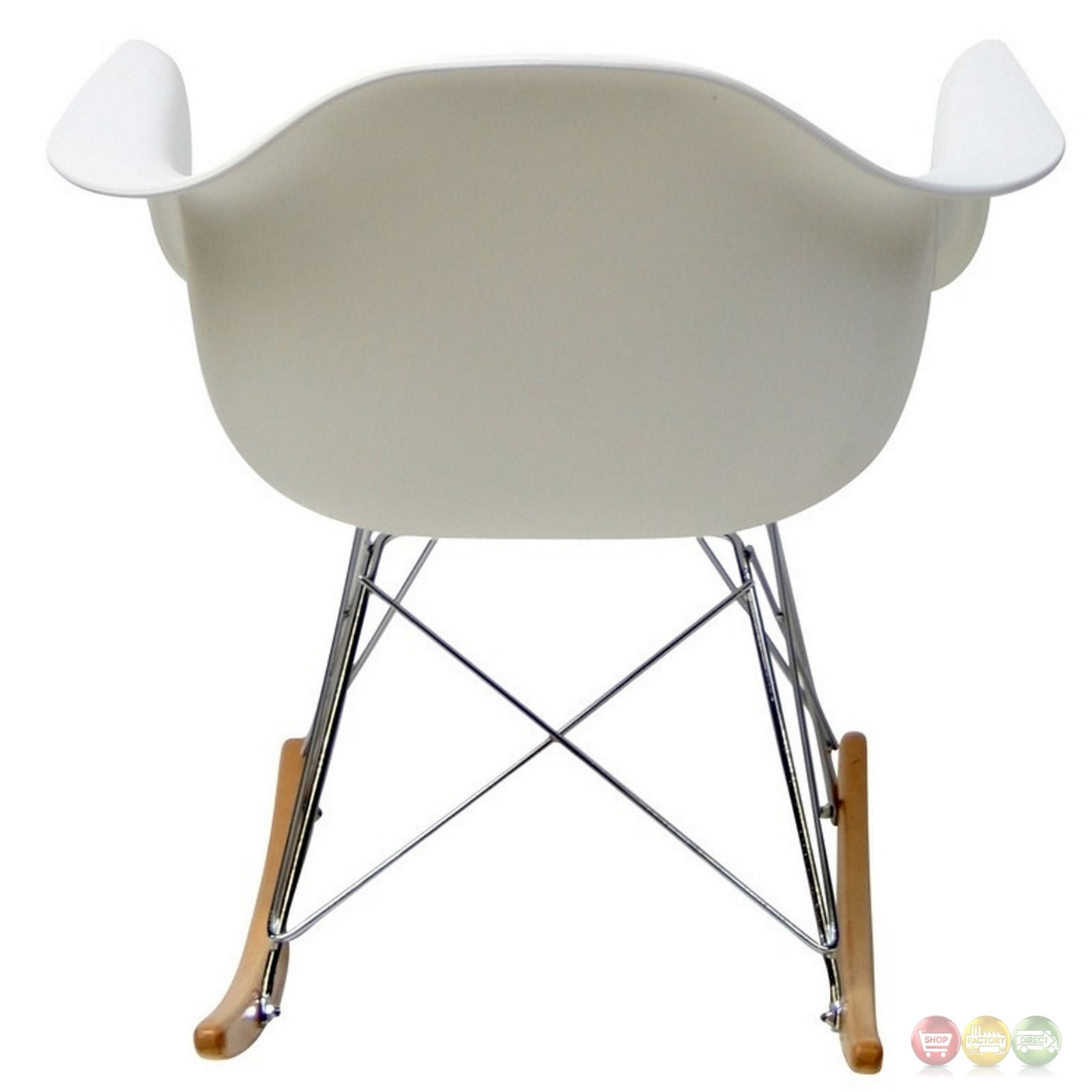 white plastic lounge chairs high chair kmart rocker molded rocking with chrome