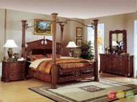 Traditional Canopy Bed w/ Leather Bedroom set w/ Marble ...