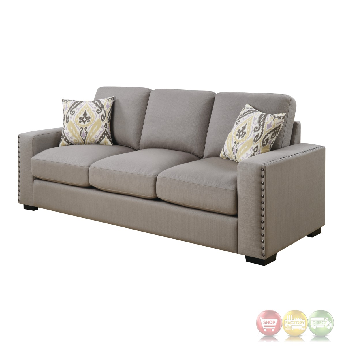 sofa nailhead section rosanna plush grey linen with trim