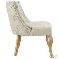 Royal French-inspired Patterned Accent Chair With Curved ...