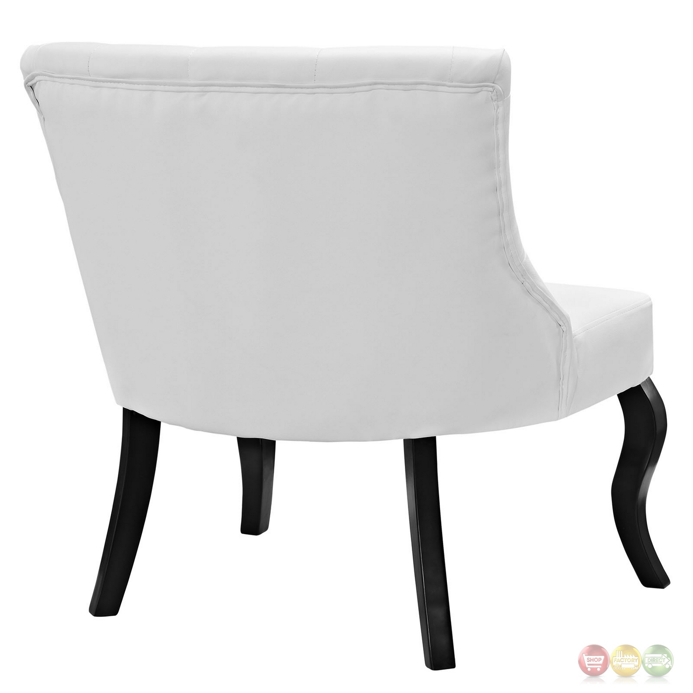 White Tufted Accent Chair Royal Modern Button Tufted Vinyl Accent Chair W Curved