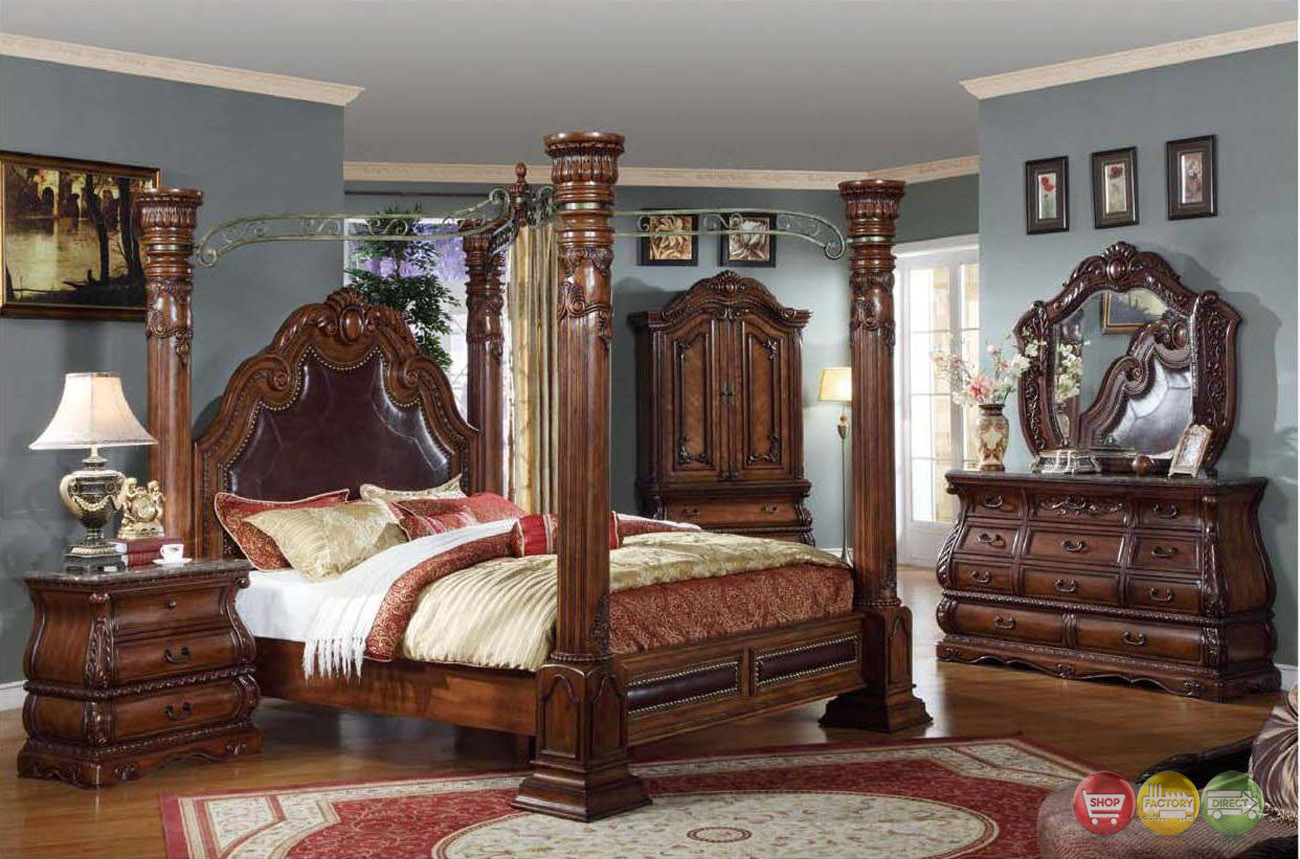 Royale Poster Canopy Bedroom Furniture with Marble Accents