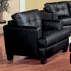 Bonded Leather Sofa And Loveseat Wicker Table With Glass Top Samuel Black Living Room