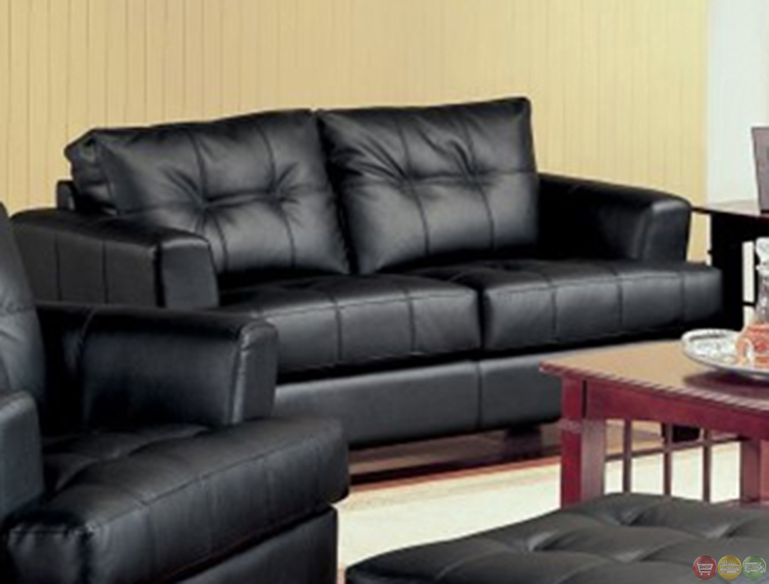 coaster samuel bonded leather sofa castro convertible beds black living room and loveseat