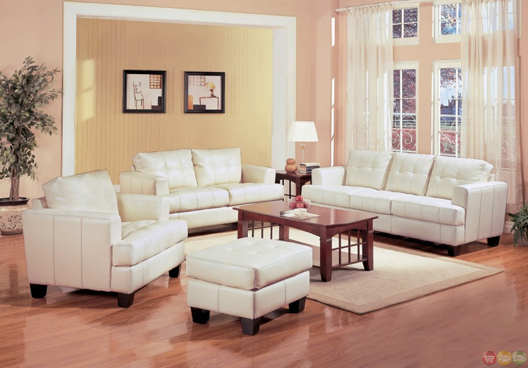 coaster samuel bonded leather sofa saybridge reviews cream living room couch and loveseat ...