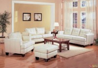 Samuel Cream Off White Bonded Leather Living Room Sofa ...