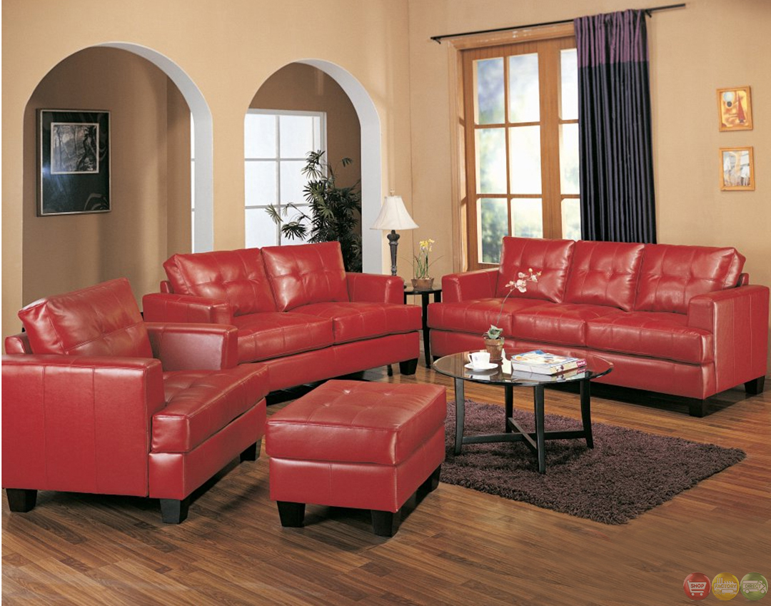 Leather Living Room Chair Samuel Red Bonded Leather Sofa And Love Seat Living Room Set