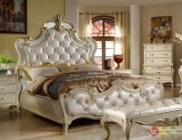Sanctuary Antique White Queen Bed With Crystal Tufted ...