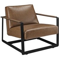 Seg Contemporary Vinyl Upholstered Accent Chair With Steel ...