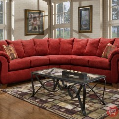 Red Microfiber Sofa Sofas With Loose Back Cushions Slipcover Sensations Sectional Pillow