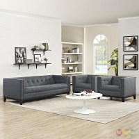 Serve Modern 3-pc Upholstered Sofa & Armchairs Living Room ...