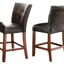Counter Height Chairs Set Of 2 Chair Cushion Rentals Bello Black Leather Tufted