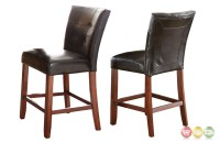 Set Of 2, Bello Black Leather Tufted Counter Height Chairs ...