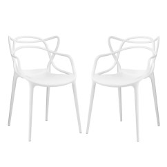 Modern Plastic Chair Office Vector Set Of 2 Entangled Shapely Molded Dining