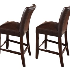Upholstered Counter Height Chairs Chair Design Long Set Of 2 Hartford Brown Leather