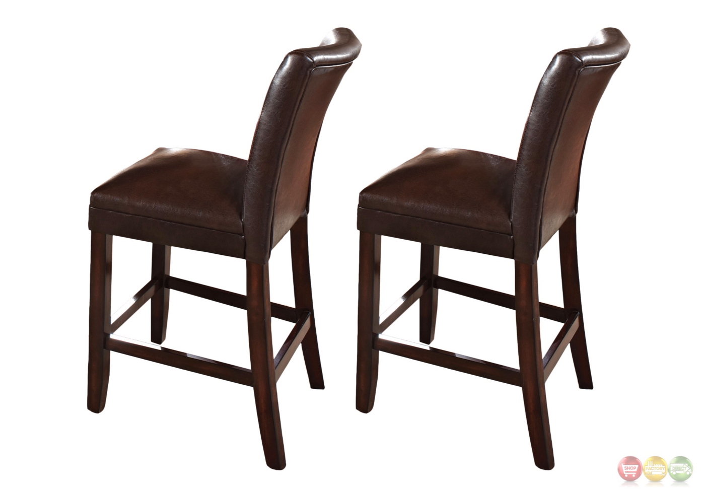 Counter Height Chairs Set Of 2 Hartford Brown Leather Upholstered Counter