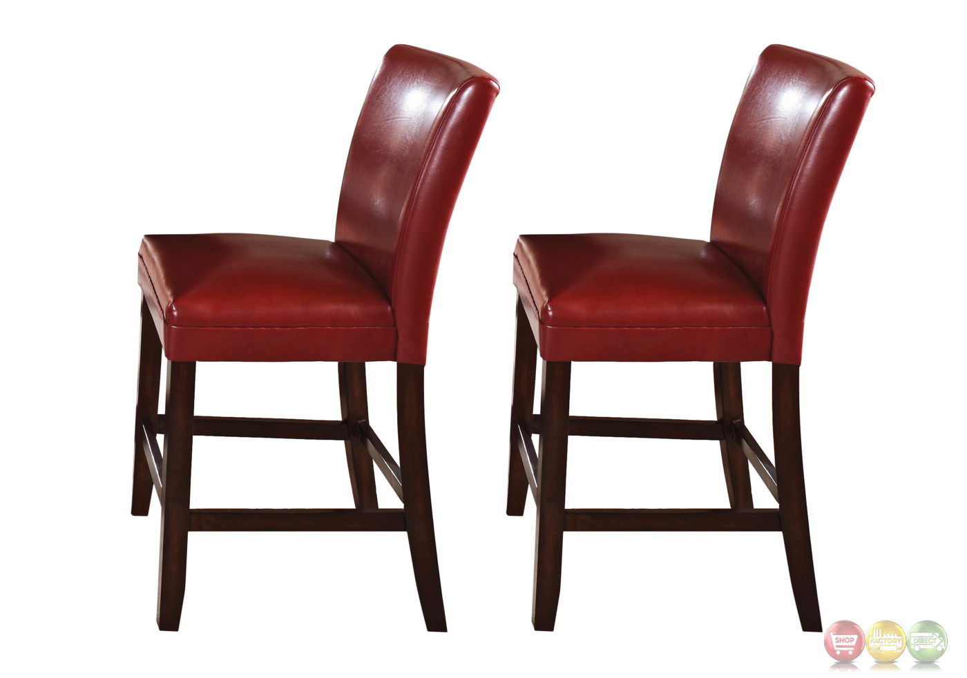 chair stool counter height wheelchair malaysia set of 2 hartford red leather upholstered