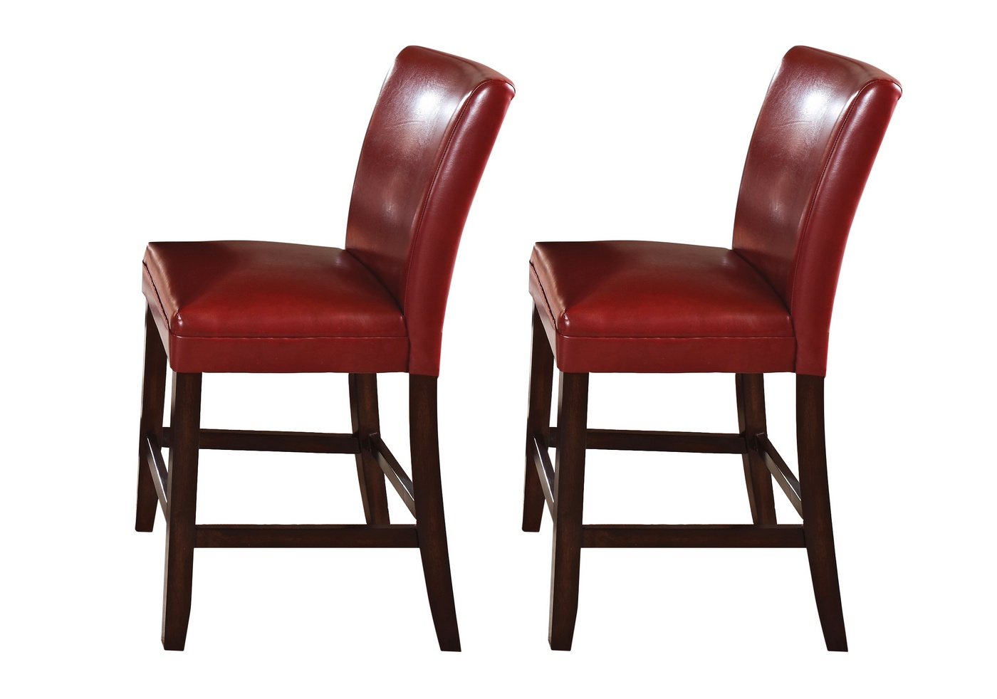 Set Of 2 Hartford Red Leather Upholstered Counter Height