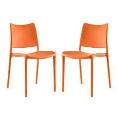 Orange Stackable Chairs Chair Cover Rentals Las Vegas Set Of 2 Hipster Casual Plastic Molded Dining