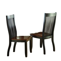 Solid Wood Kitchen Chairs Infant High Set Of 2 Lawton Modern Mision Style Slat Back