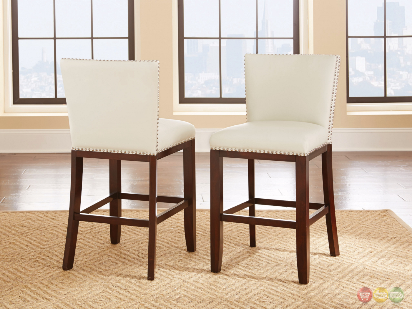White Counter Height Chairs Set Of 2 Tiffany Modern Hardwood White Vinyl Counter