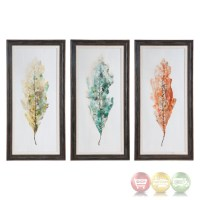 Set Of 3, Hand Painted Tricolor Leaves Wall Art On Pine ...