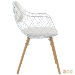 White Dining Chairs Set Of 4 Patio Chaise Lounge Lowes Basket Modern Open Wire Weaved Chair