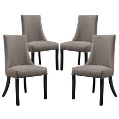 Grey Upholstered Chair White Legs Yellow Banquet Covers Set Of 4 Reverie Dining Side With Wood