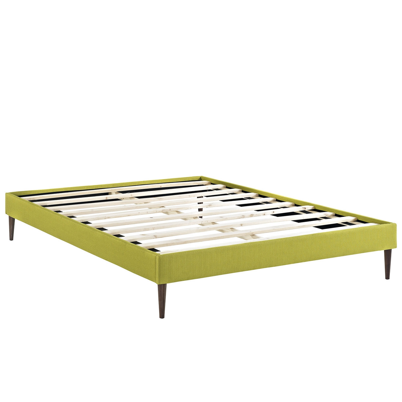 Sherry Upholstered Fabric Full Platform Bed Frame Wheatgrass