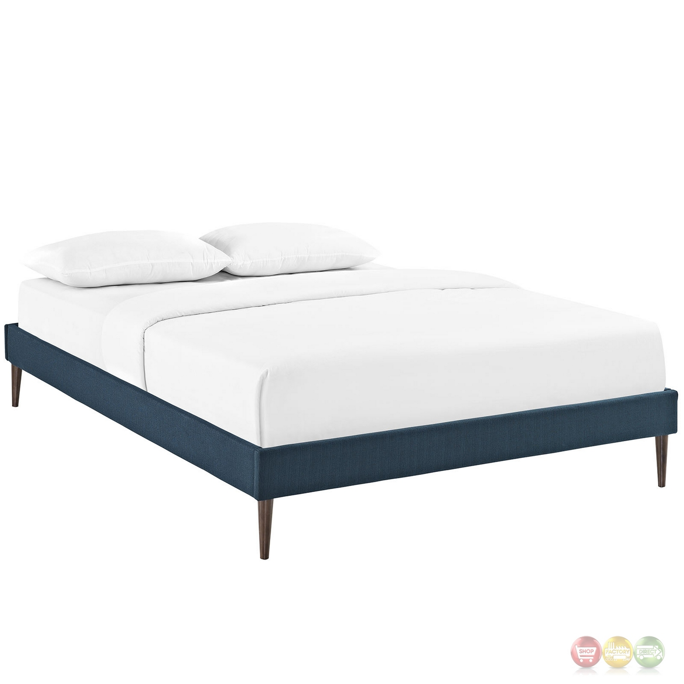Sherry Upholstered Fabric King Platform Bed Frame Azure