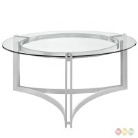 Signet Modern Stainless Steel Coffee Table W/ Round ...
