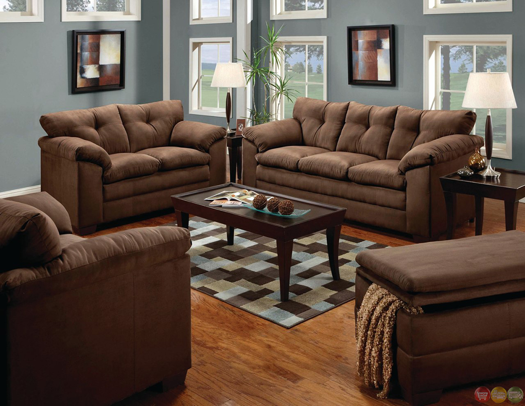 living room sofa and loveseat american heritage leather simmons luna brown microfiber set