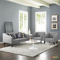 Slide Modern 3-pc Upholstered Sofa & Armchairs Living Room ...