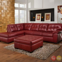 Red Sectional Sofa Chaise Thomas The Train Flip Open Soho Contemporary Bonded Leather W Left