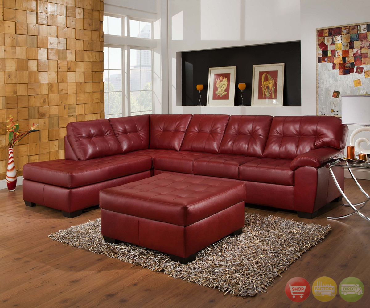 sofa w chaise upholstering leather sofas soho contemporary red bonded sectional left