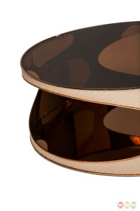 Solar Eclipse Futuristic Round Upholstered Coffee Table in