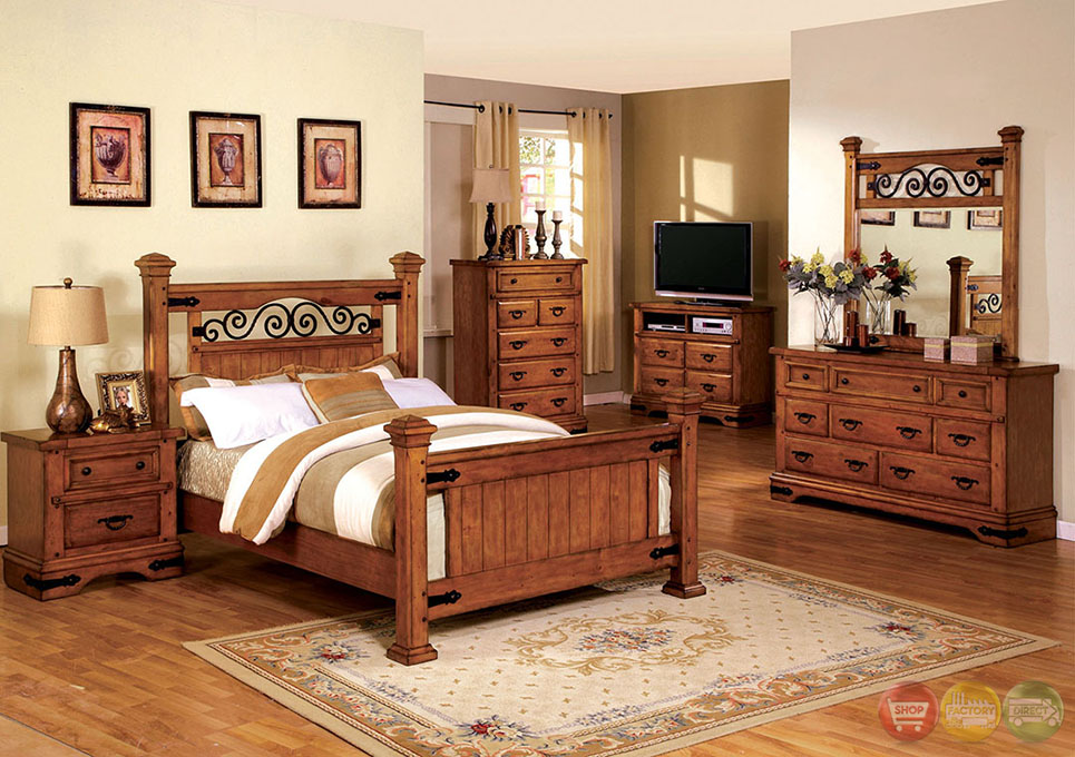 Sonoma Country American Oak Poster Bedroom Set with Rod Iron Design CM7496