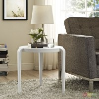 Spin Contemporary 3-legged Round Plastic Side Table, White
