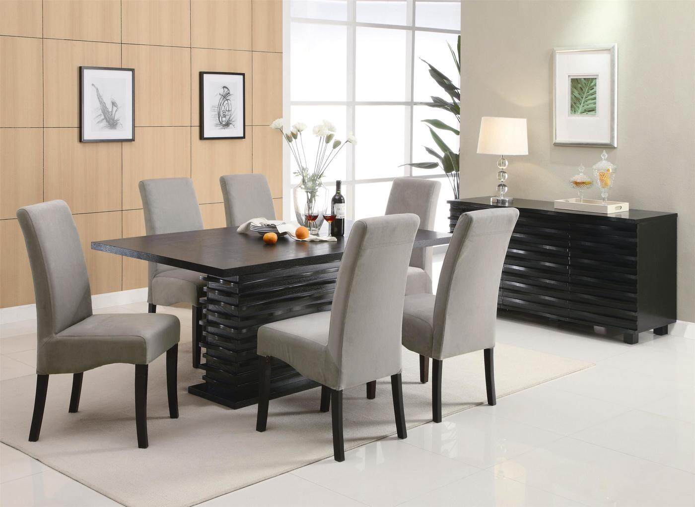 Gray Dining Room Chairs Stanton Semi Formal Gray 7 Piece Dining Room Furniture Set